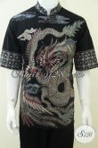 Baju Batik Kerah Shanghai Motif Naga Terbaru Warna Hitam Elegan Dan Unik [LD1793TK-XL]