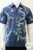 Baju Batik Biru Pria, Batik Tulis Motif Abstrak Modern Bagus Gan [LD2119T-M]