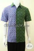 Hem Batik Dua Motif Dua Warna Trend Baju Pria Masa Kini,Baju Batik Lengan Pendek Pas Buat Gaul Maupun Kerja [LD3560CT-M]