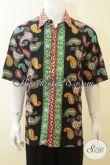 Jual Baju Batik Trendy Dasar Hitam Proses Cap Tulis Halus, Baju Batik Lengan Pendek Size Jumbo Untuk pria Gemuk [LD3675CT-XXL]
