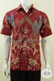 Baju Batik Solo Modern Online Warna Merah Untuk Pria Maco Pekerja Keras, Berkelas, Kantoran [LD3738T-M]