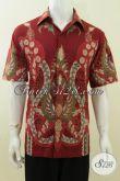 Hem Batik Merah Size L, Motif Modern Kontemporer, Batik Tulis Bagus Harga Murah [LD3745T-L]