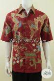 Hem Batik Warna Merah Size XL, Proses Batik Tulis, Lengan Pendek [LD3758T-XL]