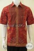 Jual Kemeja Batik Full Furing, Baju Batik Seragam Kerja Elegan Model Lengan Pendek, Pakaian Batik Halus Kombinasi Tulis kwalitas Mewah [LD4623BTF-L]
