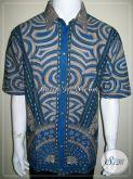 Kemeja Batik Modern Pria, Baju Batik Terbaru Warna Biru [LD532T-XL]
