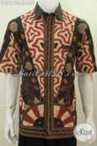 Kemeja Batik Klasik Elegan Berkelas, Baju Batik Lengan Pendek Halus Proses Tulis Soga, Bagus Untuk Kondangan Dan Acara Formal [LD5484TS-XL]