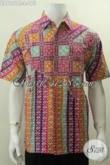 Baju Hem Istimewa Bahan Batik Cap Tulis Asli Solo, Pakaian Batik Hem Keren Motif Berkelas Pilihan Tepat Para Pria Tampil Lebih Mempesona [LD6151CT-L]