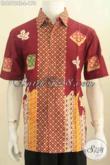 Hem Batik Merah Ukuran L, Pakaian Batik Modis Halus Proses Cap Tulis Model Lengan Pendek Untuk Penampilan Lebih Keren Dan Istimewa [LD6512CT-L]