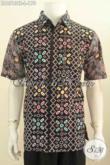 Jual Online Pakaian Batik Nan Istimewa, Pakaian Batik Modis Lengan Pendek Dasar Hitam Proses Cap Tulis Desain Motif Berkelas Cocok Untuk Seragam Kantor [LD6513CT-L]