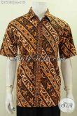 Jual Online Kemeja Lengan Pendek Bahan Batik Motif Klasik Desain Modern, Hem Batik Cap Tulis Buatan Solo Tampil Lebih Berwibawa [LD7103CT-L]