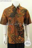 Hem Batik Klasik Nan Elegan Ukuran XL, Baju Batik Pria Dewasa Lengan Pendek Kombinasi Tulis Bahan Halus Harga 145K [LD7118BT-XL]