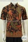 Pakaian Batik Elegan Dan Mewah, Baju Batik Halus Motif Burung Cendrawasih Model Lengan Pendek Size Untuk Pria Muda [LD7128BT-S]