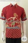 Sedia Hem Batik Merah Halus Proses Tulis Motif Wayang Arjuna Model Lengan Pendek Yang Bikin Penampilan Lebih Gagah [LD7158TF-M]