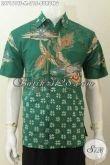 Jual Kemeja Batik Hijau Full Furing Model Lengan Pendek, Pakaian Batik Modis Halus Motif Trendy Harga 215K [LD7161TF-M]