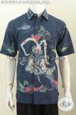 Hem Batik Wayang Bima Warna Biru, Baju Batik Tulis Lengan Pendek Mewah Halus Pake Furing Untuk pria Tampil Lebih Berwibawa Dan Keren [LD7169TF-L]