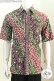 Baju Batik Kerja Pria, Hem Batik Lengan Pendek Mewah Pake Furing Bahan Halus Motif Bagus Proses Cap Tulis Harga 200 Ribuan [LD7202CTDBF-L]