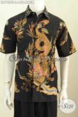Jual Kemeja Batik Modis Motif Naga, Busana Batik Tulis Buatan Solo Lengan Pendek Untuk Pria Terlihat Bergaya [LD7958T-L]