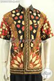 Pusat Baju Batik Cowok Terkini, Jual Online Hem Lengan Pendek Mewah Full Furing Motif Tulis Soga Harga 350 Ribuan [LD8007TSF-M]