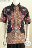 Baju Kemeja Lengan Pendek Bahan Batik Tulis Halus Asli Solo Motif Keren Model Lengan Pendek Full Furing Tampil Makin Ganteng [LD8173TF-L]
