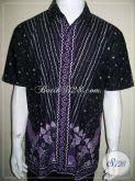 Jual Baju Batik Modern Pria, Batik Tulis Warna Ungu Hitam, Ukuran L [LD841T-L]