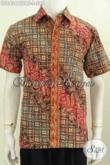 Baju Batik Pria Model Terbaru, Pakaian Batik Bahan Dolby Full Furing Lengan Pendek Motif Bagus Proses Cap Tulis [LD8424CTDBF-S]