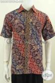 Baju Batik Pria Gaul, Kemeja Batik Cap Tulis Bahan Kain Doby Model Lengan Penedk Daleman Full Furing Terlihat Mewah Dan Berkelas [LD8427CTDBF-M]
