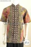 Baju Batik Pria Halus Model Kerah Shanghai, Kemeja Koko Lengan Pendek Motif Bagus Proses Cap Tulis Hanya 180 Ribuan [LD8438CTK-L]