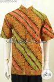 Batik Elegan Motif Klasik, Hem Batik Pria Muda Dan Dewasa Model Kerah Shanghai Model 2017 Proses Printing Harga 90 Ribu [LD8457PK-L]