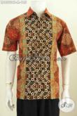 Harga Baju Batik Pria Modern 100 Ribuan, Busana Batik Terkini Bahan Halus Kwalitas Istimewa Proses Cap Tulis Model Lengan Pendek [LD8502CT-M]