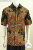 Baju Batik Hem Halus Lengan Pendek, Kemeja Batik Kerja Premium Untuk Pria Dewasa Daleman Full Furing Motif Tulis Asli, Tampil Lebih Mewah [LD8532TF-XL]