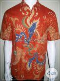 Baju Batik Orange Terbaru, Batik Tulis Pria Motif Modern, Keren Abiez Mas Bro [LD860T-M]