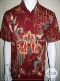 Jual Batik Online, Batik Tulis Pria Warna Merah Corak Modern, Asli Solo [LD861T-M]