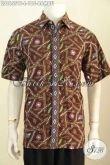 Baju Hem Batik Modern Lengan Pendek Motif Bambu, Busana Batik Solo Istimewa Bahan Adem Proses Cap Tulis Untuk Pria Tampil Gaya Dan Menawan [LD8655CT-L]