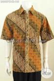 Kemeja Kerja Bahan Batik Nan Elegan Motif Berkelas Proses Cap Tulis Model Lengan Pendek Asli Buatan Solo Indonesia [LD8827CT-XL]