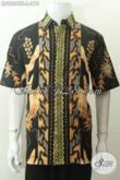 Batik Hem Motif Bagus Banget, Kemeja Batik Modern Dasar Hitam Proses Tulis Soga Lengan Pendek, Cocok Untuk Seragam Kerja [LD9068TS-L]