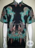 Kemeja Batik Koko Kerah Shanghai Warna Hitm, Batik Tulis Solo Trendy [LD908TK-M]