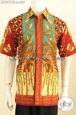 Baju Batik Pria Eksekutif, Hem Batik Manager, Pakaian Batik Tulis Lengan Pendek Full Furing Size L Motif Sinaran [LD9277TF-L]