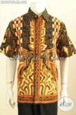 Kemeja Batik Klasik Full Furing Lengan Pendek Motif Klasik Sinaran, Baju Batik Tulis Istimewa Untuk Pria Dewasa Tampil Berwibawa [LD9278TF-XL]