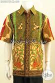 Jual Hem Batik Istimewa Size XL, Baju Batik Klasik Sinaran Untuk Pria Dewasa Model Lengan Pendek Full Furing, Penampilan Lebih Mewah Berkelas [LD9281TF-XL]