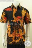 Jual Baju Batik Hitam Untuk Pria, Kemeja Lengan Pendek Motif Naga Proses Tulis Bahan Adem, Penampilan Lebih Gagah Dan Berwibawa [LD9309T-L]