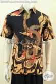 Baju Batik Trendy Dasar Hitam Motif Naga, Pakaian Batik Solo Halus Lengan Pendek Proses Tulis, Di Jual Online 210 Ribu [LD9407T-M]