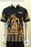 Baju Batik Keren Warna Hitam Motif Wayang Abimanyu, Busana Batik Tulis Solo Lengan Pendek Tampil Lebih Gagah [LD9409T-M]