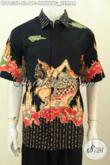 Baju Batik Pria Dewasa, Hem Lengan Pendek Modis Motif Wayang Semar Untuk Penampilan Lebih Berwibawa, Bahan Halus Proses Tulis Harga 200 Ribuan Saja [LD9436T-XL]