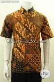 Batik Hem Klasik Desain Bodyfit, Pakaian Batik Pria Muda Untuk Tampil Gaya Bahan Halus Proses Kombinasi Tulis Lengan Pendek Kwalitas Istimewa [LD9473BT-M]