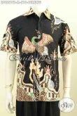 Jual Baju Batik Pria Modern, Kemeja Elegan Warna Hitam Motif Burung Bahan Adem Proses Tulis Soga, Nyaman Dan Modis Di Pakai Kerja [LD9551TS-M]