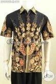 Batik Hem Keren Untuk Kerja, Baju Batik Modis Buat Gaul Kwalitas Premium Model Lengan Pendek Proses Tulis Soga, Tampil Tampan Mempesona [LD9556TS-M]