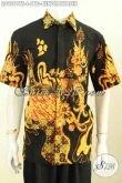 Baju Batik Keren Pria Muda Dan Dewasa, Pakaian Batik Modi Halus Lengan Pendek Tulis Soga Motif Burung Cendrawasih, Penampilan Ganteng Dan Gagah [LD9561TS-L]