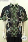 Batik Kemeja Kerja Nan Modis, Pakaian Batik Solo Modern Kekinian Lengan Pendek Proses Tulis, Pria Dewasa Tampil Beda [LD9636T-XL]