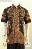 Baju Batik Pria Warna Hitam Dengan Motif Elegan Klasik, Hem Batik Premium Solo Proses Tulis Soga Daleman Full Furing Harga 490K [LD9638TSF-M]