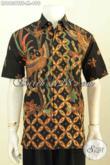 Baju Batik Pria Dasar Hitam Berpadu Dengan Motif Keren Proses Tulis Soga, Baju Batik Mewah Buatan Solo Asli Model Lengan Pendek Full Furing Harga 490K [LD9639TSF-M]